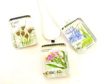 OOAK Ireland Flower Postage Stamp Glass Tile Pendant Necklace Irish Eire Travel Momento Art Recycled Repurposed Upcycled Material Jewelry