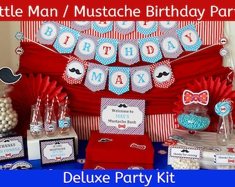 Little Man Birthday | Barbershop Birthday Party | Mustache Birthday Party Decorations | DELUXE Party Supplies