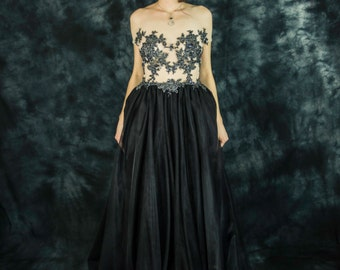 Long black evening gown, beaded lace and tulle red carpet dress, lace and tulle prom dress, black tulle party dress, black bridesmaid dress