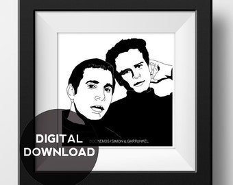 Simon and Garfunkel - Bookends  - Album Cover Poster - Graphic Illustration - Digital Download