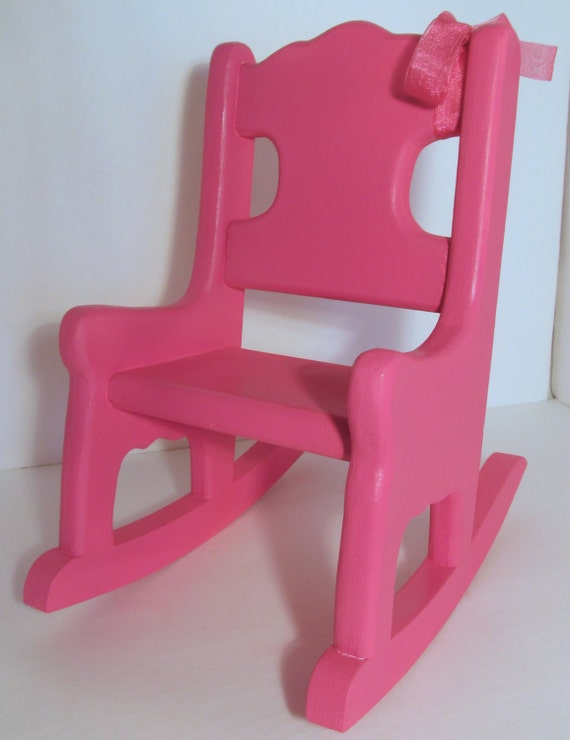 Doll Rocking Chair American Girl Size Hot Pink Wood Rocker Itty Bitty Baby  Size