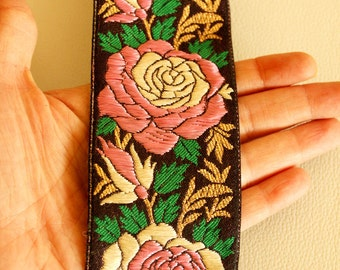 Black Fabric Lace With Rose Floral Design, Pink, Green, Gold And Beige Thread Work Trim, Approx. 61mm wide - 140316L296