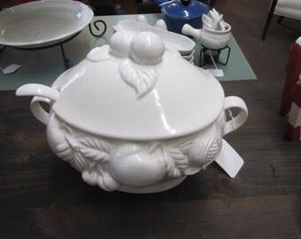 Vintage White Porcelain Soup Tureen and Ladle Fruit Pattern
