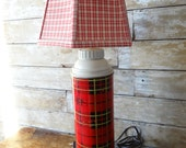 Vintage Thermos Lamp Revamped Red Plaid Larger Size