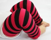 CLOSEOUT SALE Black Friday Cyber Monday Special Pink and Black Striped Baby Leg Warmers