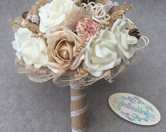 Hessian and Roses Rustic Vintage Wedding Brides Bouquet