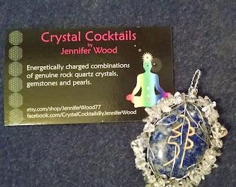 Lapis Lazuli and Clear Quartz Sei He Ki Reiki Symbol pendant