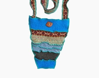 Small Purse-Hip Satchel Bag -Activity Bag-Reversible-Patchwork Recycled Eco Friendly Button Closure from Mediterranean