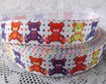 Teddy bear ribbon Teddy bears grosgrain ribbon 7/8 Teddy bear ribbon