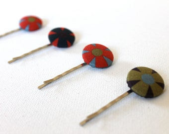 Fabric Button Cover Blossom Bobby Pin - Red and Green