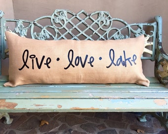 LAKE DECOR pillow -Extra long lumbar burlap pillow for the front entry in simple black font