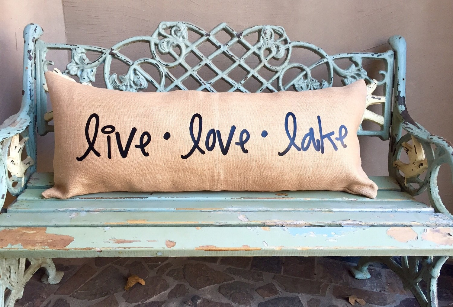 LAKE DECOR pillow Extra long lumbar burlap pillow for the