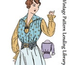 1915 Ladies Blouse With Ruffled Cuff - Reproduction Sewing Pattern #E1770