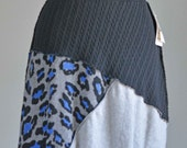 Large Black Grey Blue animal print upcycled sweater skirt repurposed clothing boho ecofashion