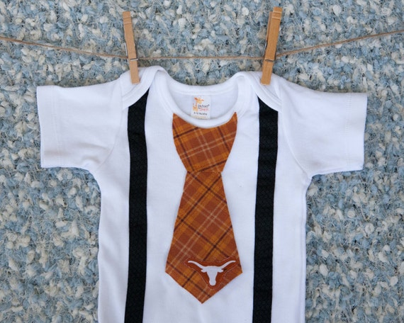Texas esie with Tie Texas Baby Longhorn Shirt Outfit