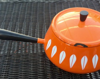 ORANGE Cathrineholm Fondue with Stand and Orange Underplate
