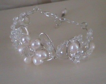 Bridal flower bangle