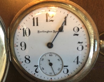 Burlington Special Antique Hunter Pocket Watch, Gold Plates, American Railroad Series