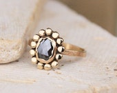 Rose Cut Diamond Engagement Ring // 14k Gold Black Rosecut Diamond Ring // Oval Conflict Free Diamond // Eco Friendly Recycled Gold