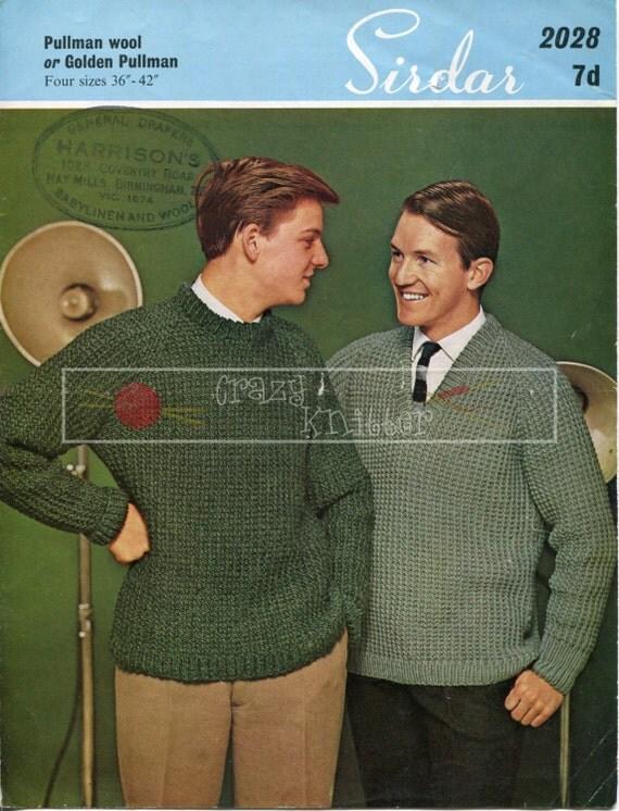 """Men's Raglan Sweater 36-42"""" Chunky Sirdar 2028 Vintage Knitting Pattern PDF instant download"""