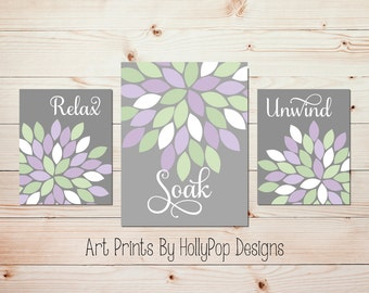 Relax Soak Unwind Bathroom Wall Art Dahlia Bathroom Decor Purple Bathroom  Art Bathroom Wall Quotes Spa