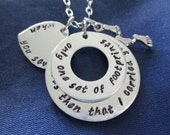 Footprints in the Sand Hand Stamped Stacked Washer Necklace - When You Saw Only One Set of Footprints It Was Then That I Carried You