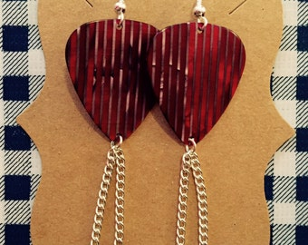 Red & Silver Guitar Pick Earrings w/ Silver Chain