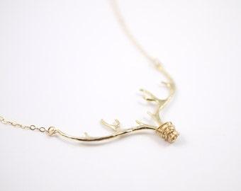 Large Antler Necklace, Gold Antler Necklace, Gift for Her