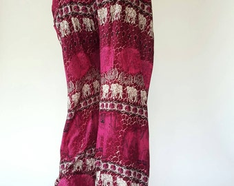 SM0105 Smocked Waist Baggy Bohemian Harem Pants Gypsy Pants Rayon Pants,Aladdin Pants Maxi Pants Boho Pants