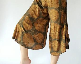 WL0007 Capri Soft Thai Lady  wide leg style lady pants with elastic waistband super cute in Dark purple