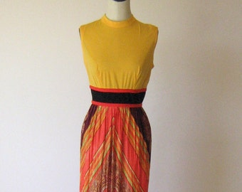 SALE - Vintage 1970's Sears JR Bazaar Yellow, Orange and Black Grecian Style Maxi Dress - Zippered Back and High Neckline