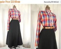 BLACK FRIDAY SALE 1970s Blouse// Prairie Blouse// Red Blouse// Plaid Blouse// Steampunk// Ruffle Front Blouse// Rainbow Plaid Blouse// Xl Bl
