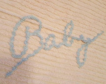 Darling Chenille ~ Baby Crib Throw Blanket Cover Spread ~ Soft Pink ~ Vintage Juvenile Child