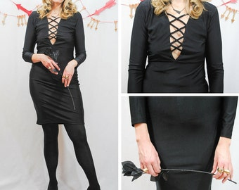 Body Con Black Lace Up Dress