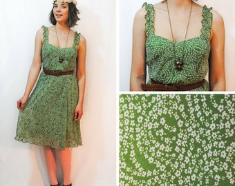 Green Dress - Green Sundress, Vintage Floral Dress, Green Floral Dress, Vintage Dresses