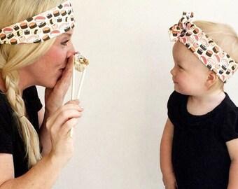 Sushi organic cotton topknot headband | big bow headband