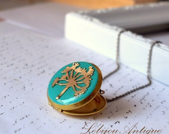 Dandelion Locket necklace Blue and Gold make a wish two pictures keepsake botanical jewelry nature flower christmas gift for her