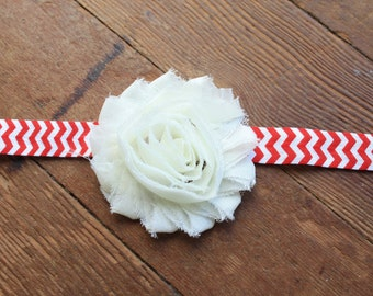 White Shabby Flower on Red Chevron Headband