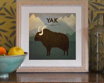 "Yak Print Original Design Animal Alphabet Poster Art Deco Vintage 1930's 1940's Childrens Baby Nursery 7x7"" Square Cute Beautiful Retro"