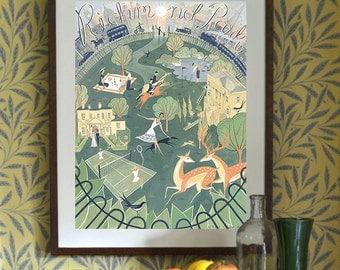 London Richmond Park Art Print Illustration, Traditional Vintage Travel City Poster Deer Tennis Wedding Horse riding Royal Ballet School