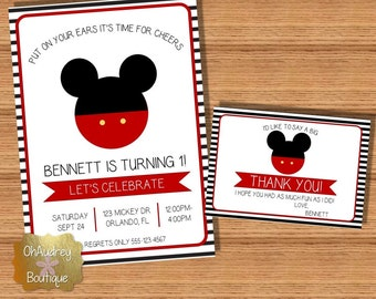 Mickey Mouse Ears Birthday Invitation
