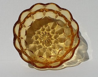 Vintage Anchor Hocking Fairfield Amber Nappy Glass Bowl