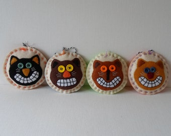 Handmade Halloween Ornaments Set of 4 Awesome Cats