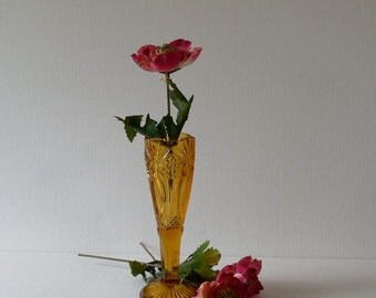 Vintage Mosser Classic Diamond Pattern Amber Glass Bud Vase