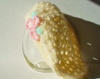 Hand Made Beret Soft Yellow Crocheted Women's Beret