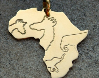 Africa brass pendant with animals