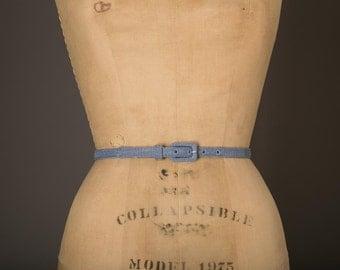 1970s Blue Denim Look Skinny Belt with Rectangular Buckle