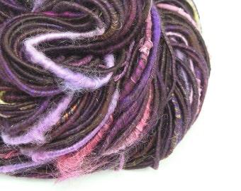 Bulky Yarn, Handspun Art Yarn, Handspun Yarn, Artisan Yarn, Corespun Yarn, Purple Yarn, Textured Yarn, Mixed Media, Weaving Yarn - JEWEL