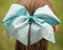 Cheer bow in your choice of color, cheer bow on a pony o, hair bow with gorgeous silver cracked ice pattern, girls large hair bow