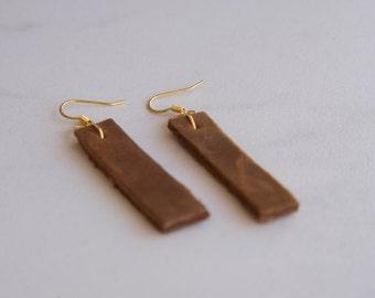 Leather dangle drop earrings